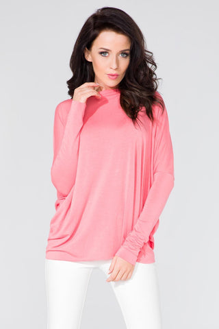 Pink Loose Deep Back Cut-ot Blouse