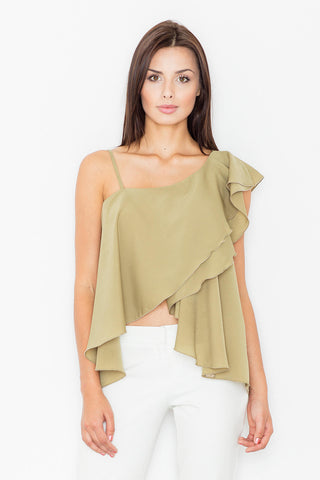 Olive Green Asymmetrical One Shoulders Strap Dress with a Frill
