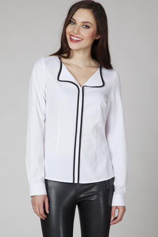 White Elegant Blouse with Contrasting Black Piping