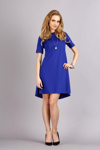 Blue Short Sleeves Flared Knee Length Dress