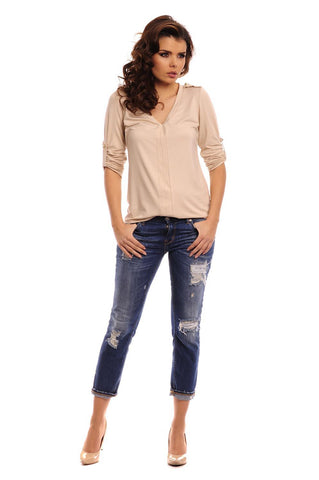 Beige Knitted Roled-up Sleeves Blouse