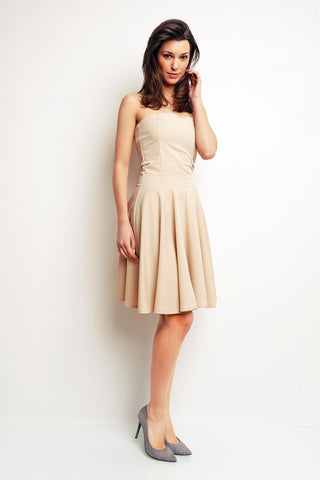 Beige Bandeau Cocktail Knee Length Dress