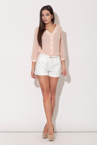 Pink Plunging V Neckline Blouse with Metallic Buttons