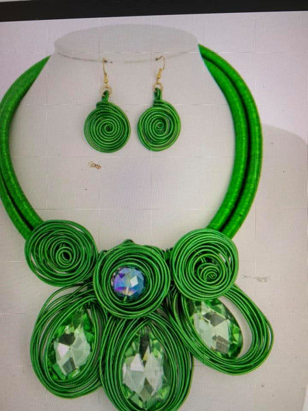 Green Very attractive SPIRAL BEADED ACRYLIC BEADED SET-Mother's Day Gift