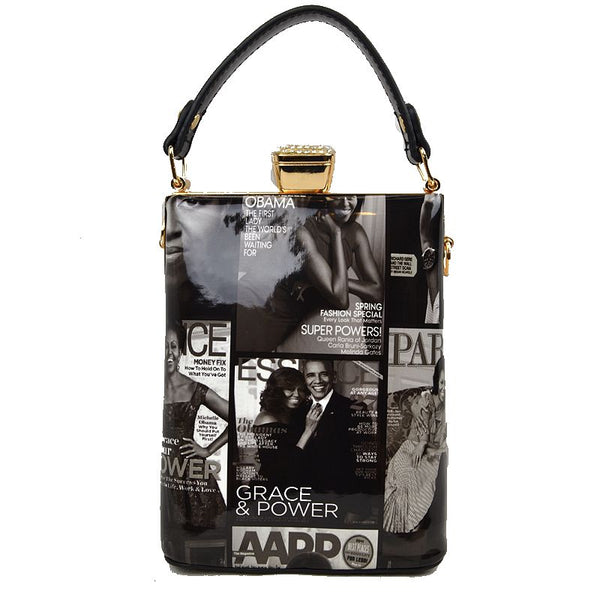 Michelle Obama Magazine Print Evening Purse/Everyday-Black and White