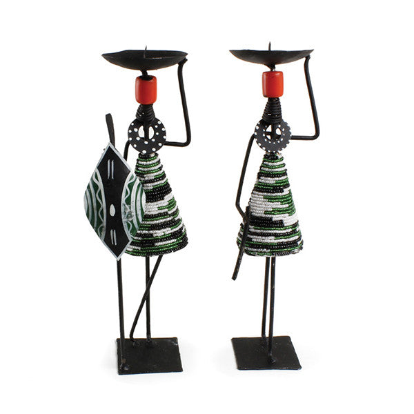 Set Of 2 Beaded Maasai Candle Holders