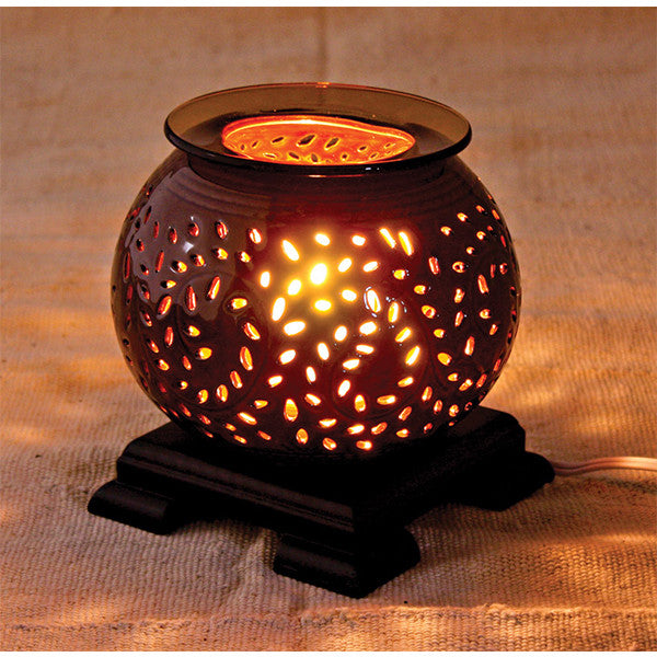 Large Glass/Wood Oil Burner - Dark Brown
