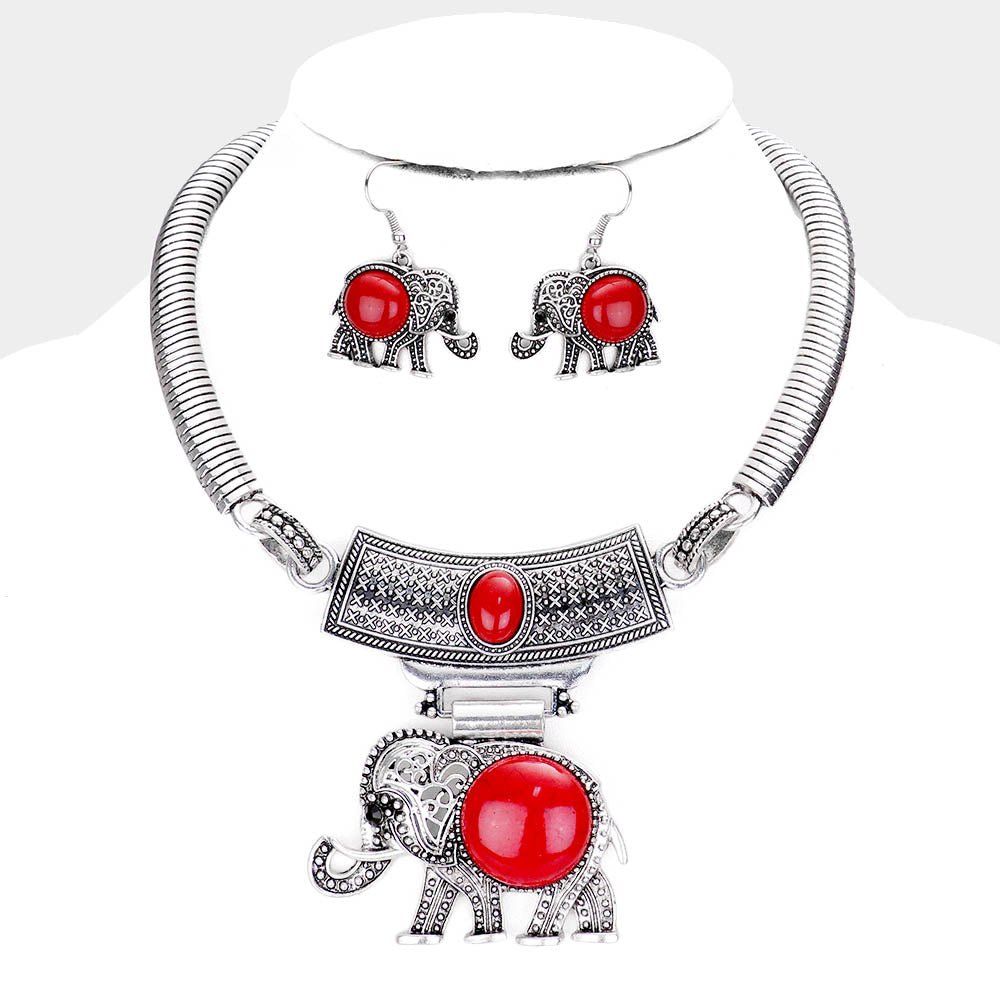 Red and Sliver NATURAL STONE EMBOSSED METAL ELEPHANT PENDANT NECKLACE