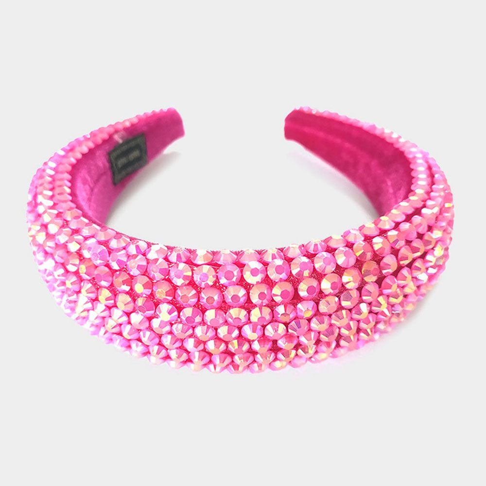 FACETED STONE PAVE PADDED HEADBAND-Fuchsia