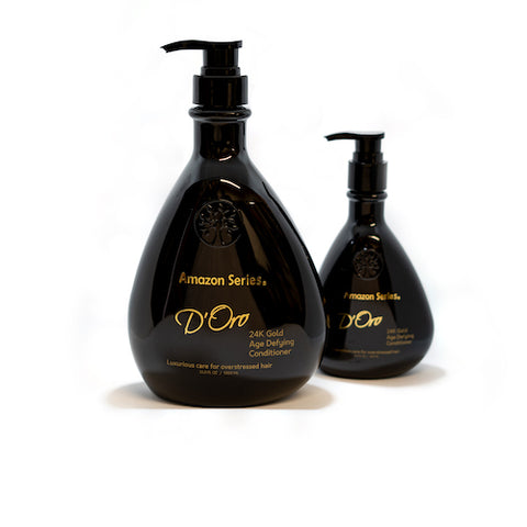 300ml and 1L bottles of Amazon Series D'Oro 24k Gold Conditioner from Fine Edge Beauty & Barber Supply Canada