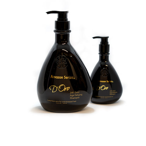 300ml and 1L bottles of Amazon Series D'Oro 24k Gold Shampoo from Fine Edge Beauty & Barber Supply Canada