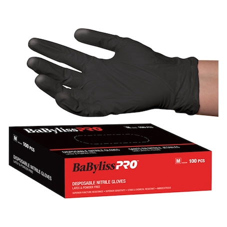 BaByliss Pro Disposable Black Nitrile Gloves