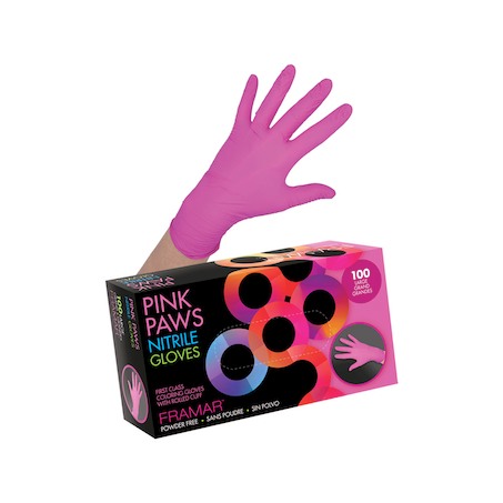 Framar Pink Paws Disposable Nitrile Gloves
