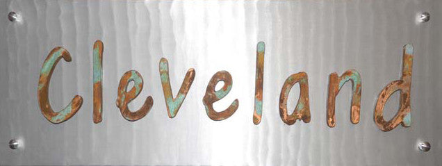 """CLEVELAND"" Patina Wood on Metal - Shirley's Loft - 2"