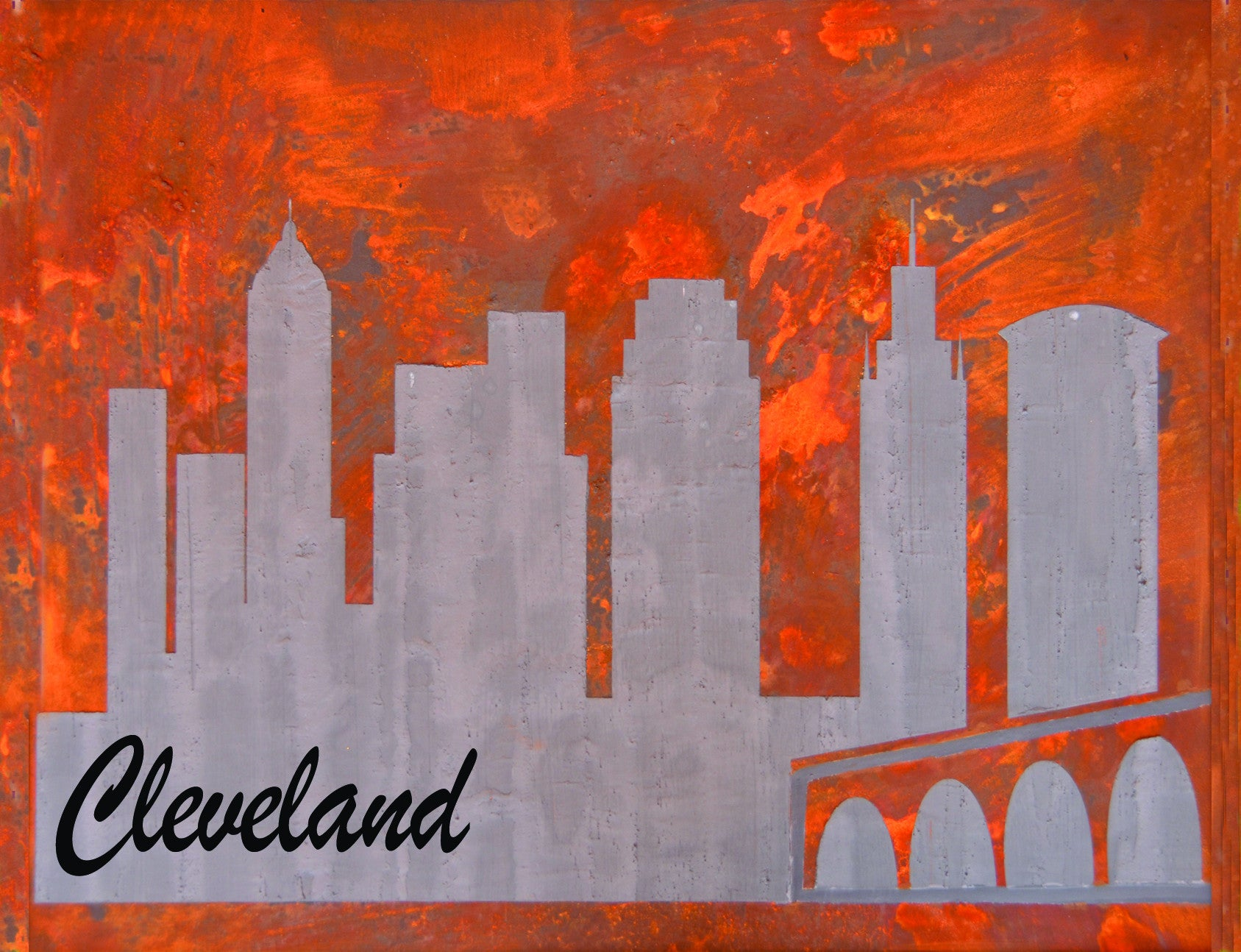Rusted Cleveland Skyline Greeting Card - Shirley's Loft