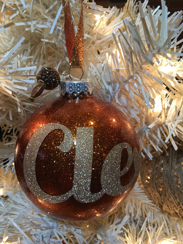 "Large Copper 4"" Signature Ornament - Holiday Glitz Collection"