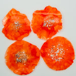 ORANGE MICA RESIN COASTERS WITH SILVER FLAKE AND EDGING (SET OF 4)