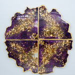 Violet and Gold Leaf Resin Coasters with Gold Edging Set of 4