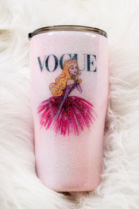Pretty Pink Glittered Princess Vogue Stainless Steel Tumbler