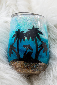 Beach Chillin Glittered Stainless Steel Stemless Tumbler