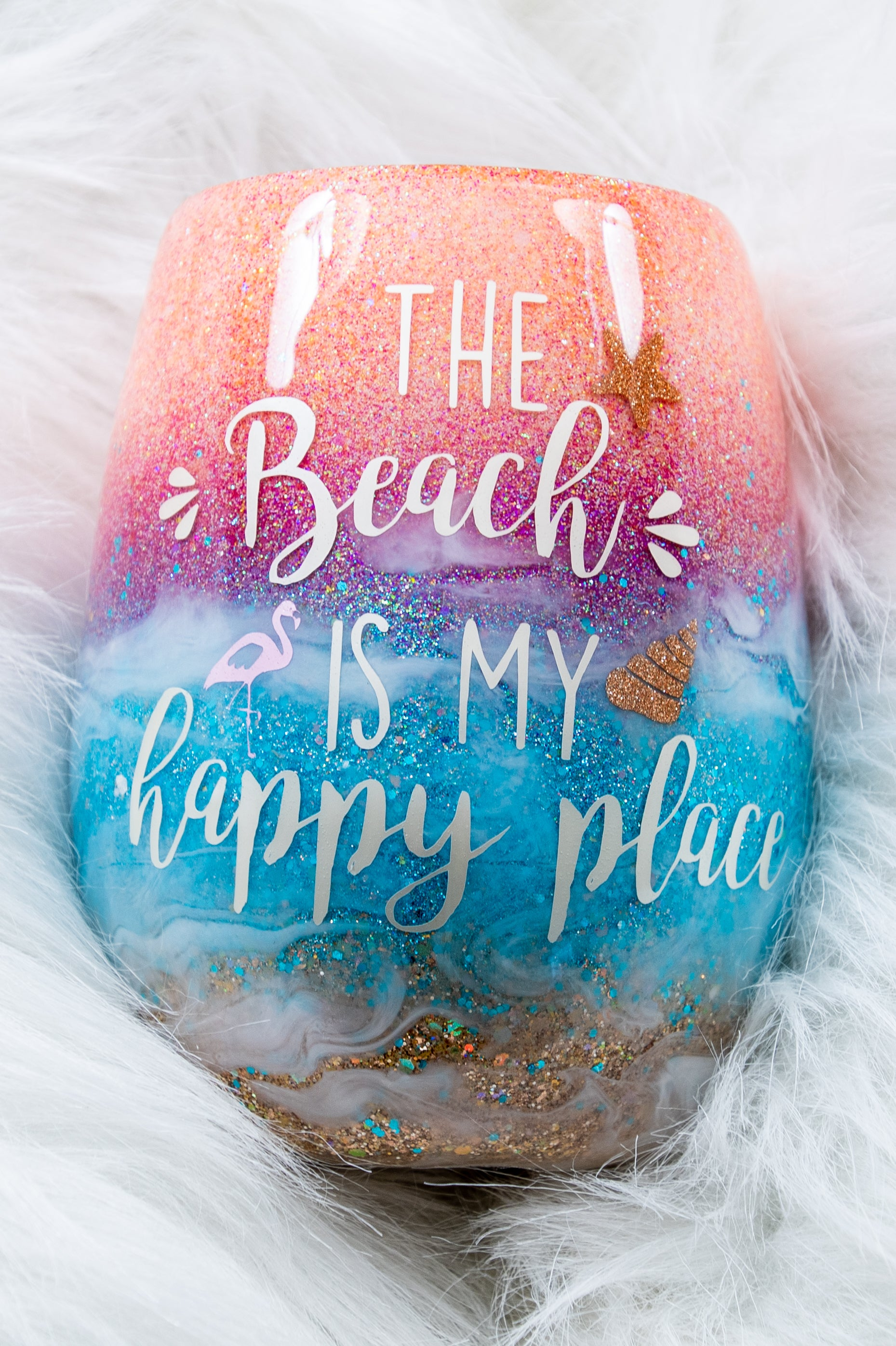 The Beach Is My Happy Place ~ Beautiful Glittered Beachy Stemless Glass Wineglass with Starfish and  Flamingo Inside