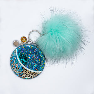 "Glittered 3"" Round Key chain with Charms"
