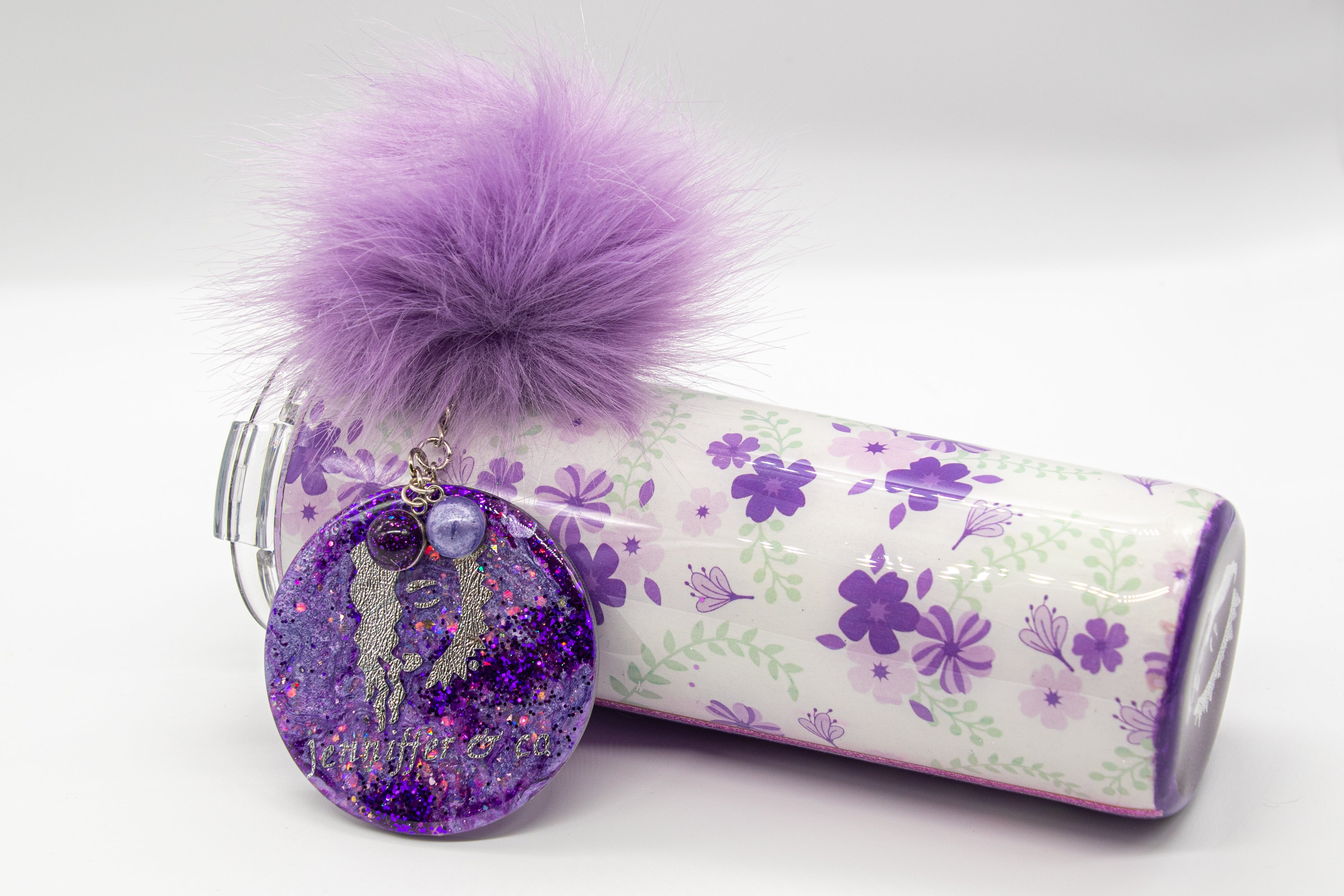 Glittered Purple  Floral Customized 30 Ounce Stainless Steel Tumbler