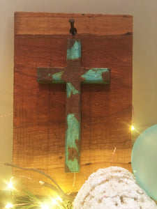 Cross on live edge wood
