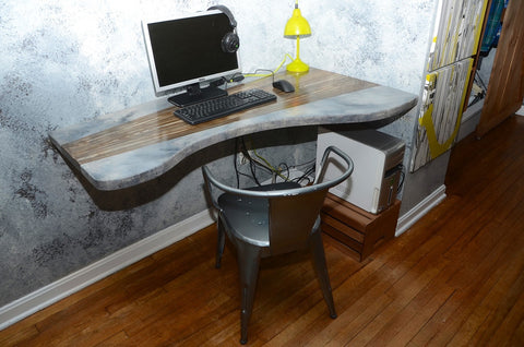 Abstract wood and concrete desk - Shirley's Loft