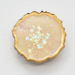 CREAM MICA HOLOGRAPHIC OPAL GLITTER WITH  GOLD EDGING ON A WHITE BASE
