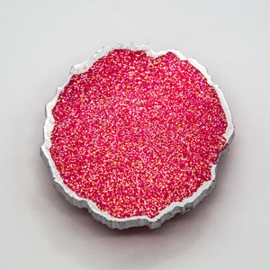 HOT PINK AND SILVER GLITTER WITH SILVER EDGING ONN A WHITE BASE