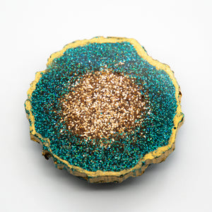 DEEP AQUA AND GOLD GLITTER WITH GOLD EDGING ON A BLACK BASE