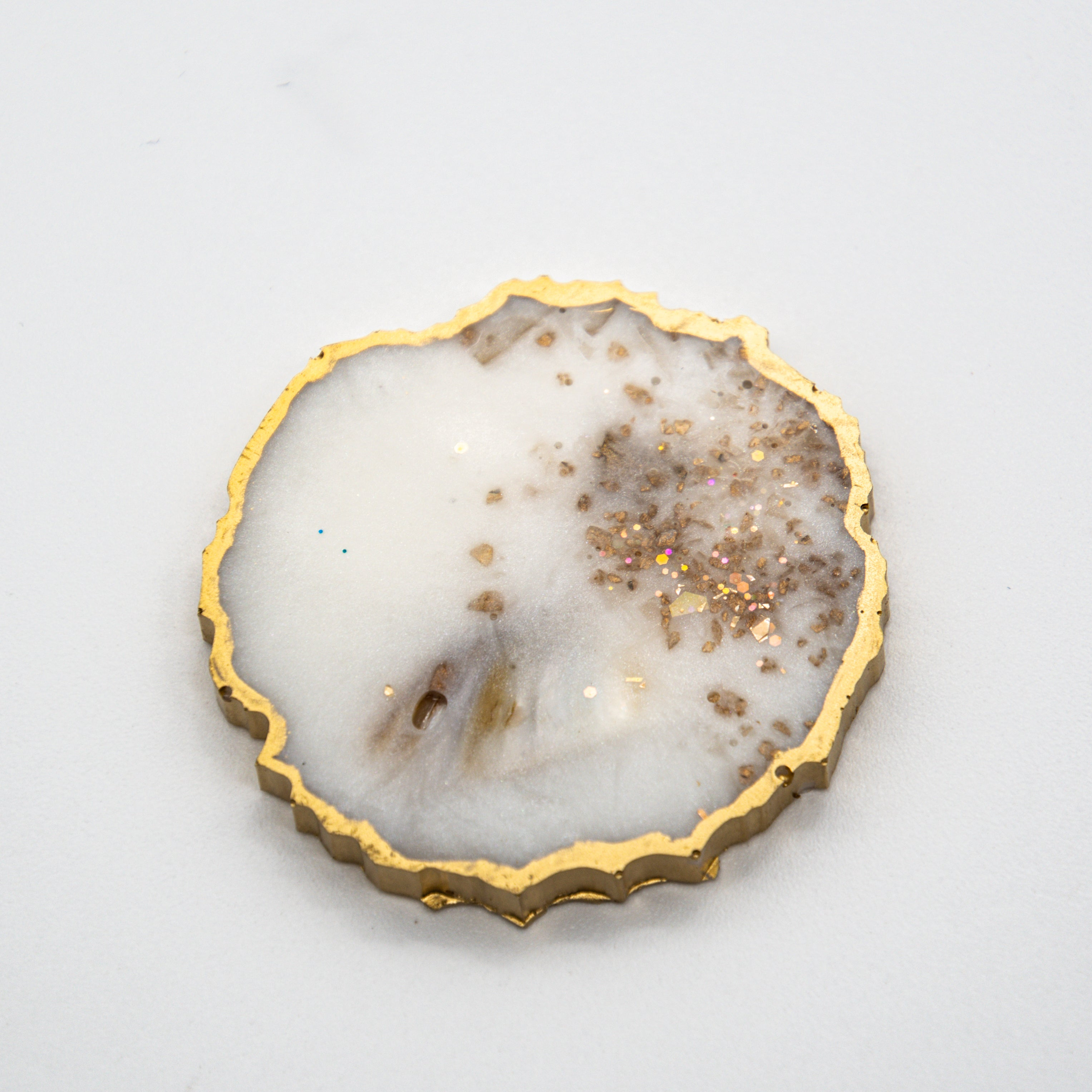 PEARL OPAL MICA WITH GOLD GLITTER AND GOLD EDGING ON YOUR CHOICE OF WHITE OR BLACK BASE