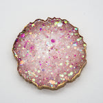 PINK, WHITE AND CHUNKY HOLOGRAPHIC OPAL GLITTER WITH GOLD EDGING ON YOUR CHOICE OF BLACK OR WHITE BASE