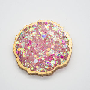 PINK AND OPAL HOLOGRAPHIC GLITTER WITH GOLD EDGING AND YOUR CHOICE OF WHITE OR BLACK BASE