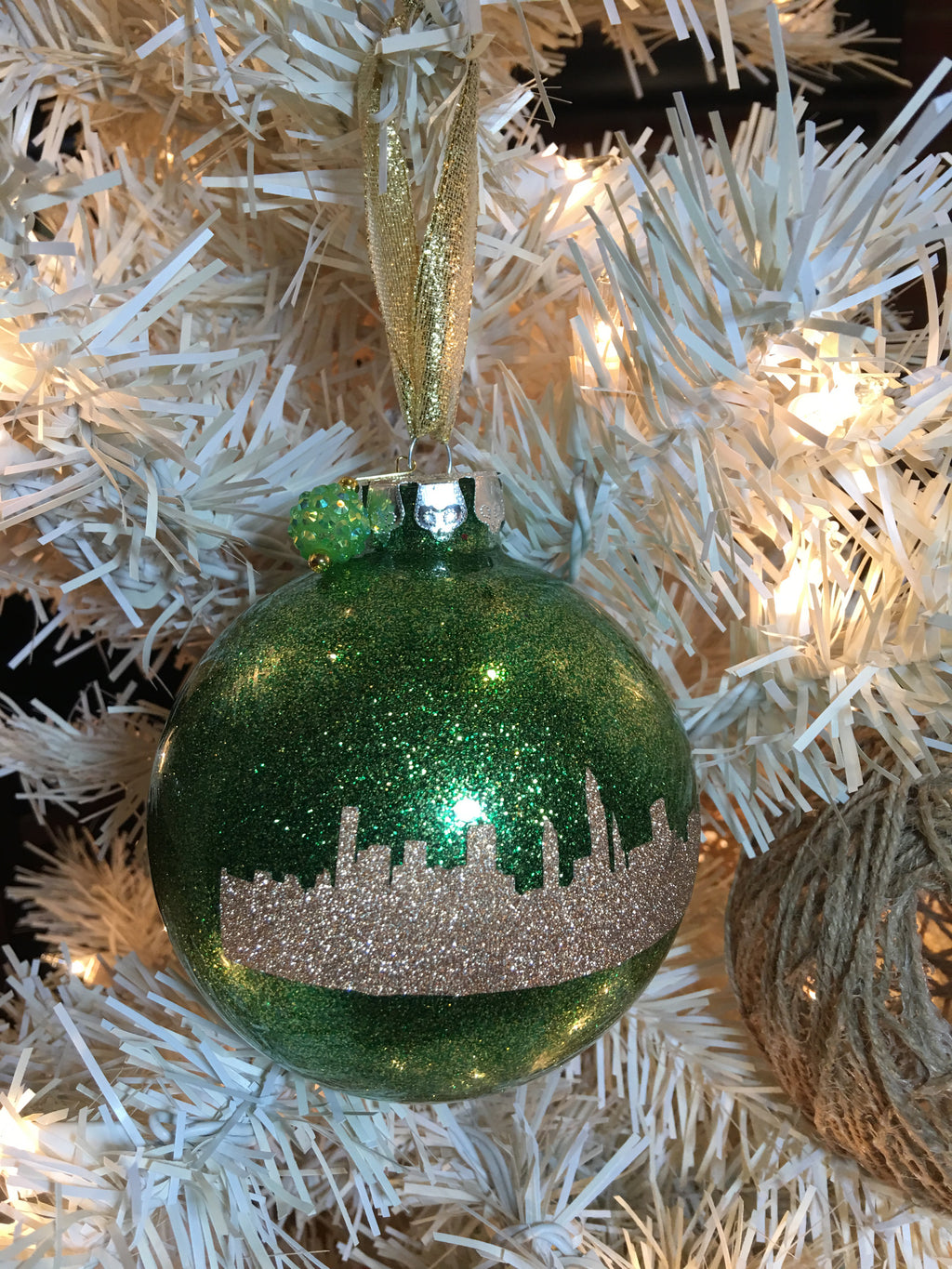 "Large Green 4"" Signature Ornament - Holiday Glitz Collection"