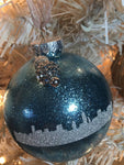 "Medium Icy Blue Skyline 3"" Signature Ornament 2 - Holiday Glitz Collection"