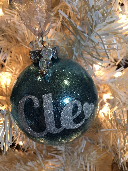 "Medium Icy Blue 3"" Signature Ornament - Holiday Glitz Collection"