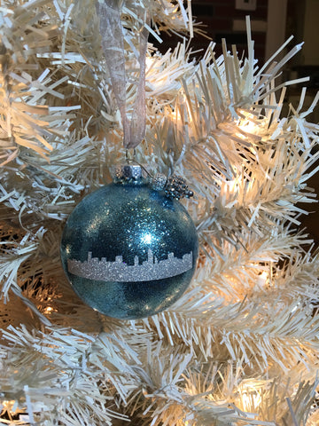 "Medium Icy Blue Skyline 3"" Signature Ornament - Holiday Glitz Collection"