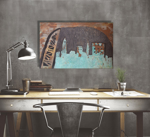 Abstract Cleveland Patina Skyline - Shirley's Loft - 1