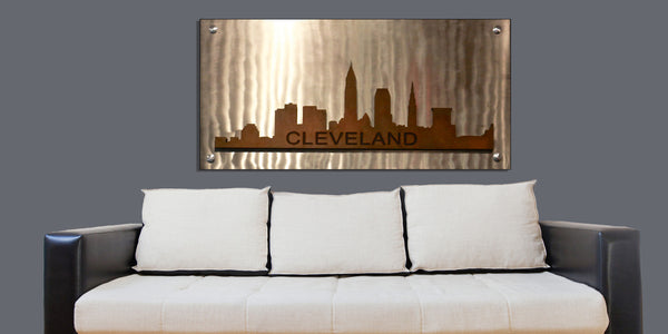 Cleveland Skyline on Metal - Shirley's Loft - 2