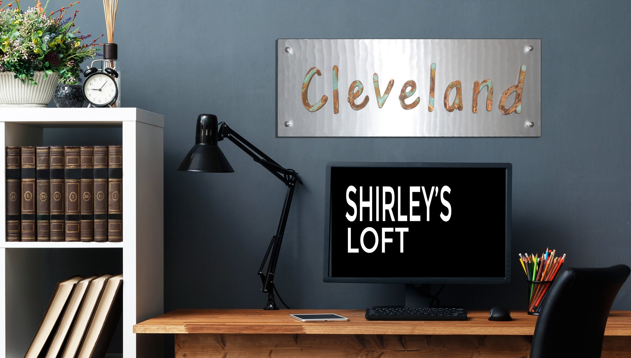 """CLEVELAND"" Patina Wood on Metal - Shirley's Loft - 1"