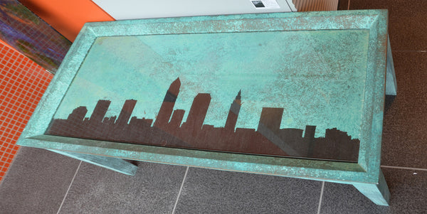 Teal Patina Coffee Table - Shirley's Loft