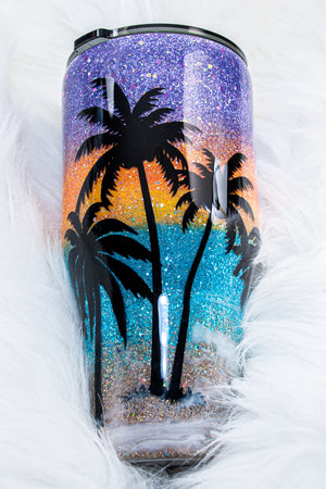 Glittered Beach Life is Better on the Beach ~ 40 Ounce Stainless Steel Tumbler