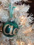 "Large Turquoise and Gold 4"" Signature Ornament - Holiday Glitz Collection"