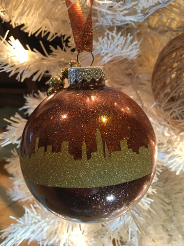 "Large Copper and Gold 4"" Signature Ornament - Holiday Glitz Collection"