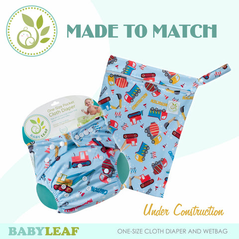 Under Construction Made to Match Cloth Diaper Set