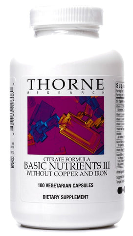 Basic Nutrients III w/o Copper and Iron (Citrate Formula) - 180 Vegetarian Capsules