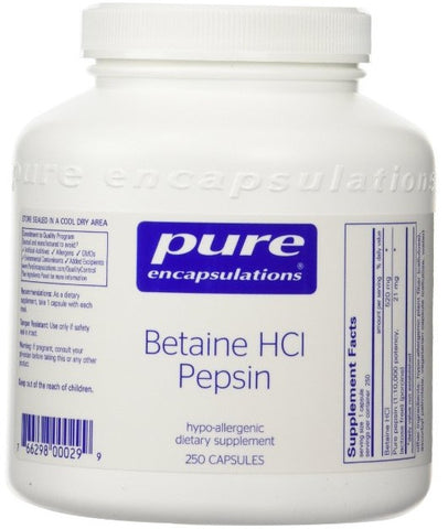 Betaine HCL Pepsin - 250 Vegetable Capsules