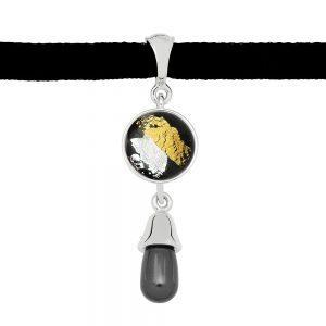 Black Pearl Drop Pendant with Felt Necklace
